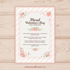 Floral valentine's day card Free Vector
