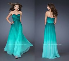 Blue green ombre prom maxi dress strapless