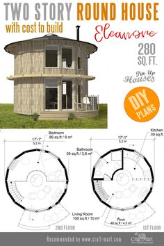 Awesome Small Home Plans for Low DIY Budget - Craft-Mart : Round house plans. With plenty of windows, high ceilings, and round interior walls, this tiny house can be fun not only to live in but to build as well! Tyni House, Silo House, Tiny House Cabin, Tiny House Design, Round House Plans, Small House Plans, House Floor Plans, The Plan, How To Plan