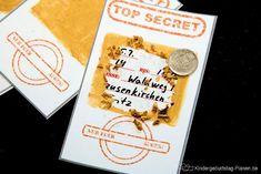 """Rubbel-Lose kennen die meisten Kinder - aber eine """"Rubbel-Einladung""""? Da kommt schon bei der Detektiv Geburtstag Einladung sofort Spannung auf!"""