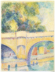 ¤ Hippolyte Petitjean (French, 1854–1929). The Pont Neuf, ca. 1912–14. The Metropolitan Museum of Art, New York. Robert Lehman Collection, 1975 (1975.1.681) | This delicate pointillist sheet, glistening with light, was made along the Seine, looking downriver through the arches of the Pont Neuf toward the bathing cabins and trees by the place Henri IV. The Pont Neuf is the oldest bridge in Paris. #paris