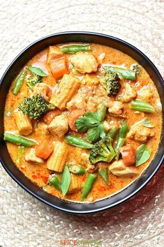 Thai Massaman Curry in Instant Pot or Stovetop Thai Massaman Curry is one of the milder Thai curries. It's a nice blend of sweet and spicy, and the coconut milk adds a touch of creaminess to the curry. Thai Recipes, Seafood Recipes, Indian Food Recipes, Asian Recipes, Cooking Recipes, Healthy Recipes, Chicken Recipes, Vegetarian Recipes, Jamaican Recipes