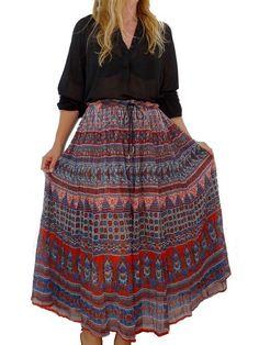 intage sheer gauze cotton INDIAN bohemian 90's ETHNIC festival maxi skirt