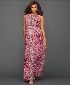 INC International Concepts Plus Size Dress, Halter Paisley-Print Maxi Only@Macys  Web ID: 971334