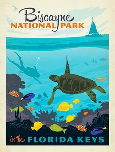 Vintage Biscayne National Park and Florida Keys Travel Poster (1950's)