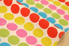 Japanese Fabric  big dots canvas  A  fat quarter by MissMatatabi