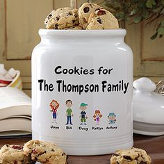 Kids will LOVE this! Turn each one of your family members into a cartoon character to be personalized on this beautiful cookie jar! There are  male and female grandparent, adult, youth and baby figures that come in male or female and light or dark complexions so each character will look exactly like your loved one!