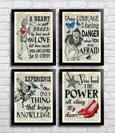 This is a set of The Wizard of Oz prints. You will receive the four prints shown above. /Frames not included./ ...................................................................................... ORIGINAL ARTWORK: - Unique design and concept inspired by timeless images from a bygone
