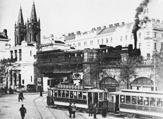 Vienna Elevated railway, still using steam power Good Old Times, Austro Hungarian, Vienna Austria, Vintage Photography, Old Pictures, Paris Skyline, Beautiful Places, Places To Visit, Old Things