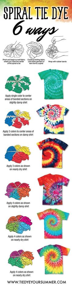 Tie Dye your summer with one of these cool spiral tie dye shirt ideas.  The way you dye you spiral creates a different tie dye pattern/affect like shown.  Try these easy techniques for your next tie d