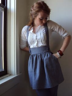 suspender skirt and pin tucks