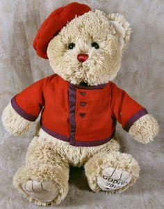 "Gund 12"" Tan Solt Plush Teddy Bear Red Hat & jacket Godiva 2012 Stuffed Toy #GUND"