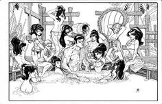 J. Scott Campbell & Andy Hartnell DANGER GIRL in YOU ONLY LIVE TWICE by Nick Bradshaw Comic Art