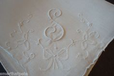 Vintage Embroidered White Linen Hankie Monogram s Wedding Bridal Madeira Bows | eBay