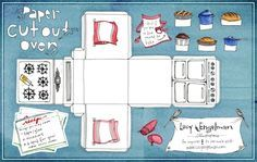 FREE printable paper Cutout Oven. This would be a cute cupcake box or fun for baby shower favours. You will have to scale (probably at least 11 x 17)