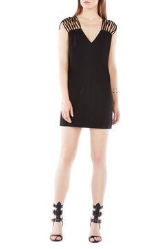 BCBGMAXAZRIA 'Arielle' Beaded Crepe Shift Dress available at #Nordstrom