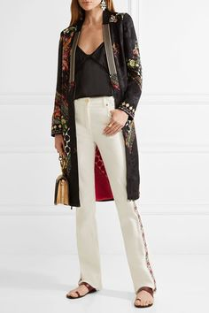 Etro - Embroidered High-rise Bootcut Jeans - White - 27