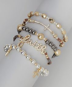 Another great find on #zulily! Gold & White Cross Stackable Stretch Bracelet Set by Mica #zulilyfinds