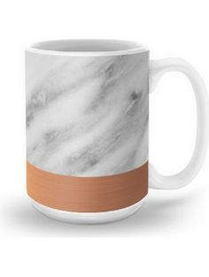 Society6 Carrara Italian Marble Holiday Rose Gold Edition Mug 15 oz ❤ Society6