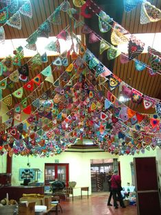 Admirable - crochet bunting in abundance...6000 flags to be precise - this was 2013, 2014 set to be even more awesome!