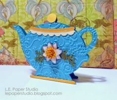 Teapot shaped card made with Cricut's Love you a Latte and Flower Shoppe