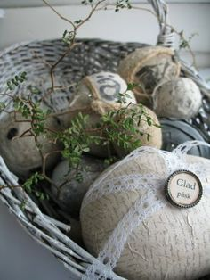 Vintage eggs with lace