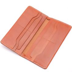 Handmade Brown Leather Long Wallet Credit Card by Scotchleather