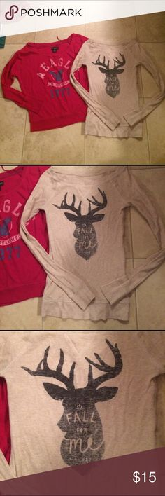 "$7 lot of aeo tops One nwot one in excellent condition. ✔The price in the beginning of the title of my listings is the bundle price. These prices are valid through the ""make an offer"" feature after you create a bundle. These bundle orders must be over $15. Ask me about more details if interested.  ❌No trades ❌No holds American Eagle Outfitters Tops"