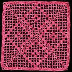 Filet Square Doily - A free Crochet pattern from jpfun.com.