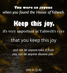 Let no one take your joy, let no one deceive you!