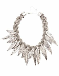 Bershka México - Collar cadena plumas metal