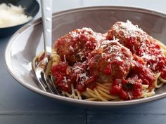 Real Meatballs and Spaghetti recipe from Ina Garten via Food Network