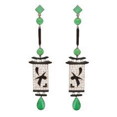 Art Deco Jade Pendant Earrings | See more rare vintage Dangle Earrings at http://www.1stdibs.com/jewelry/earrings/dangle-earrings