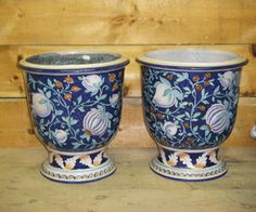 """Tuscany   Dolfi   Planter Pomegranates     These lovely blue floral planters are a ceramics production from Ceramiche ND Dolfi located in Montelupo, Tuscany. The artistic majolica from Dolfi shows distinctive character and high end creativity. These unique hand painted Tuscan planters are 18"""" in diameter."""