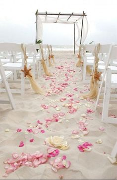 pink beach wedding aisle decor / http://www.deerpearlflowers.com/fun-and-easy-beach-wedding-ideas/2/