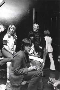 """Baby"" Jane Holzer, Mick Jagger and Andy Warhol  at Jane's apartment, 955 Park Ave, c. 1960s"