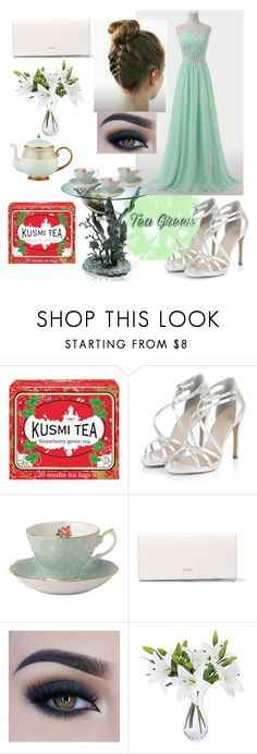 """""""Tea Party"""" by regulus-star ❤ liked on Polyvore featuring Kusmi Tea, Royal Albert, DKNY, Too Faced Cosmetics and Prouna"""