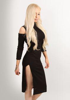 Cold shoulder textured stripe midi dress black