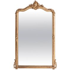 French 19th Century Louis XV Style Gold Gilt Mirror   From a unique collection of antique and modern mantel mirrors and fireplace mirrors at https://www.1stdibs.com/furniture/mirrors/mantel-mirrors-fireplace-mirrors/