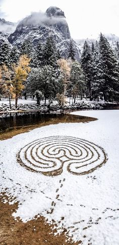 #Labyrinth in snow - Merced River. Image by Lars Howlett
