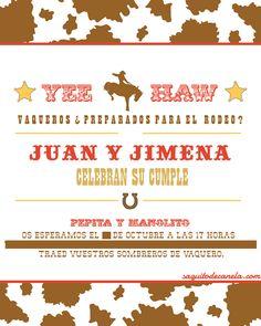 Invitación cumpleaños vaquero
