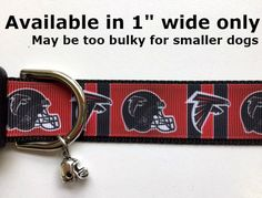 """Atlanta Falcons Inspired football 1"""" wide Adjustable dog collar with football charm LEASH & fob available by Sewwho on Etsy"""