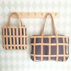 leather straps tote basket byAMT studio and mimot studio