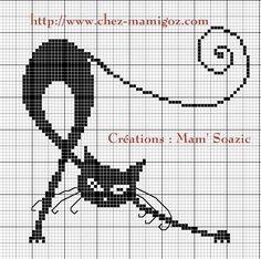 ( Grille gratuite ) Dans la série des motifs pour habillage de boite voici une grille de Chat Noir. Dessin trouvé dans la banque de données libre de tous droits Vous trouverez les explications, et réalisation du montage ainsi que d'autres motifs ICI Bonne...