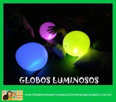 GLOBOS LUMINOSOS http://blogdelosmaestrosdeaudicionylenguaje.blogspot.com.es/2013/04/taller-multisensorial-globos-luminosos.html