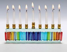 Rainbow Icicle Menorah: Alicia Kelemen, Beatriz Kelemen: Art Glass Menorah | Artful Home