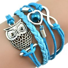 Superbe Bracelets en cuir Chouette avec perle et infini