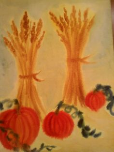 Waldorf ~ 3rd grade ~ Gardening & Farming ~ Harvest ~ watercolor painting 5th Grade Art, Fourth Grade, Third Grade, Grade 3, School Chalkboard, Chalkboard Decor, Kids Watercolor, Watercolor Paintings, Wet On Wet Painting