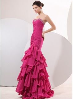 Mermaid Sweetheart Floor-Length Chiffon Evening Dress With Ruffle Beading (017014049)