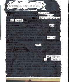 """""""Estimate the height of clouds"""" Blackout Poetry"""